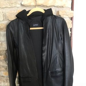 Doma black leather jacket with a detachable hood!